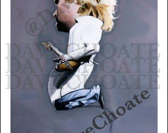 Kurt Cobain, Nirvana. Reading Show. Photo print from an original painting.