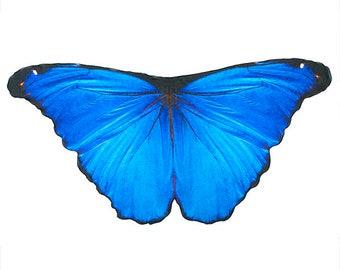 Blue Morpho Butterfly Scarf, Fairy Wings or Butterfly Cape, Butterfly Wrap Halloween Costume for Women Faux Silk