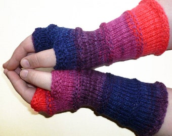 Knit Fingerless gloves   Arm warmers   Womens Fingerless   Long Mittens   Wrist warmers   Mismatched Gloves  