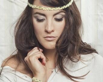 Lace headband - FLOWERCHILD - Yellow and green lace