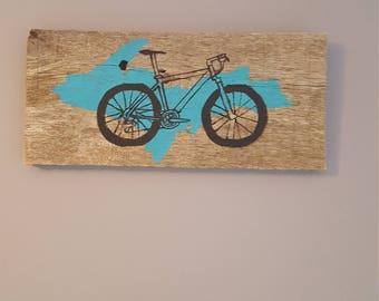 Mountain bike art, mountain bike rustic decor, Upper Michigan mountain bike rustic sign, rustic mountain bike wall hanging