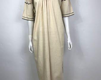 Vtg 70s ethnic embroidered caftan maxi dress