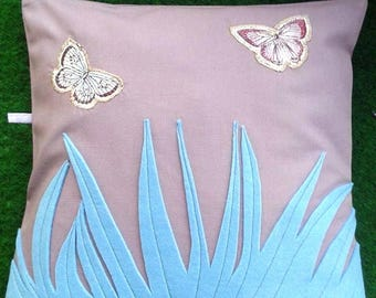 turquoise blue purple, butterfly fabric and felt cushion pillow cover