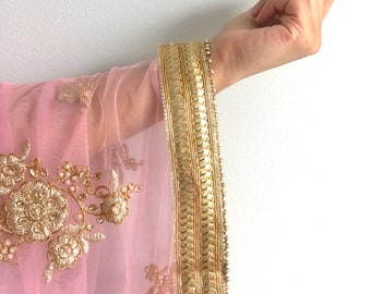 Blush Pink Pastel Net Dupatta Veil with Heavy Embroidery, Dazzling Mirror Work Border - Indian Jewelry, Wedding Accessories, Net Chunni