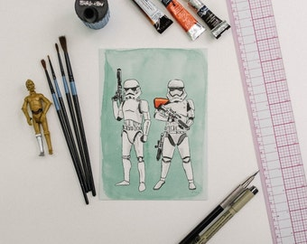 Old Meets New Storm Troopers Star Wars Watercolor Print