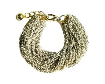 Multi Strand Chic Statement Chain Bracelet - Ivory
