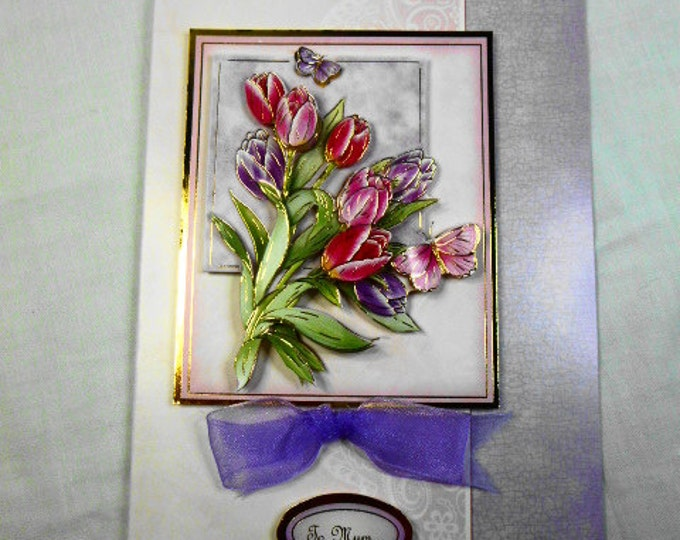 Pink and Lilac Tulips, 3 D Decoupage, Birthday Card, Mothers Day Card, Greeting Card, Female Any Age, Mother, Mum, Mom