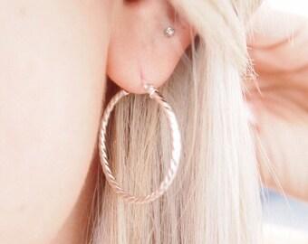 Silver 925, hoop earrings - sterling silver earrings