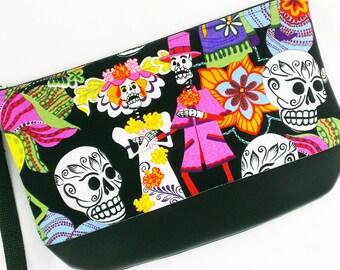 Day of the Dead Clutch purse sugar girl skull mexico wedding oddities dia de los muertos goth halloween suar skull bags zip clutch handbag