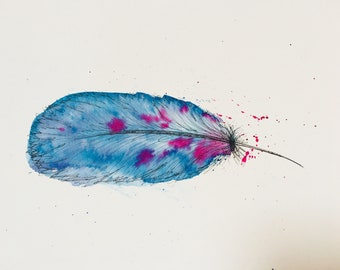 Feather print watercolor