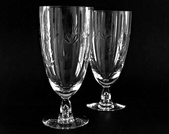 4 Tiffin Crystal Ice Tea Glasses / Beer Pilsner Glasses 1960s Mid Century Atomic Cut Glass Stemware