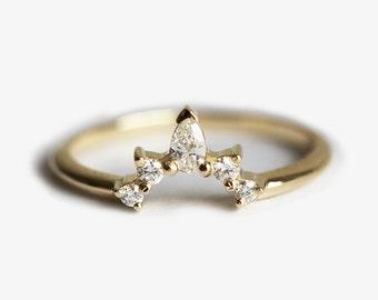 Diamond Wedding Band, Diamond Crown Ring, Curved Diamond Ring, Curved Diamond Band, Diamond Wedding Ring, Nesting Diamond Band