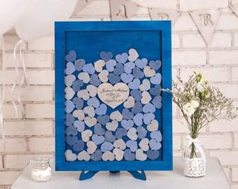 Custom Wedding Guest Book Alternative Wood Blue Drop Top Box Wedding Guestbook Alternative Unique Wedding Sign Rustic Wedding guest book