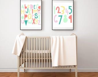 Alphabet Art Print - Baby Girl Nursery Art - Multicolor Alphabet Print - 8x10 Digital Download - Modern Nursery Decor - Minimalist Nursery
