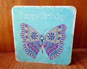 Original Butterfly greeting card handmade 14cm x 14cm