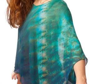 Shibori Silk Chiffon Poncho Jade