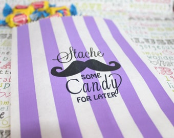 Stache Some Candy Personalized Party Favor Bags, Wedding Stripe Mustache Bags, Stache Some Goodies for Later Treat Bags - 50 Bags