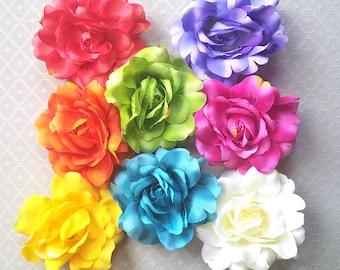 Silk Rose Hair Flower Clip & Pin - 8 Colors