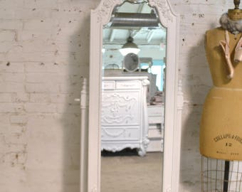 Painted Cottage Chic Shabby French Dressing Mirror with Jewelry Armoire