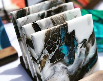 Hand painted coasters • set of 4 coasters • One of a kind • Unique housewarming •Bar gift