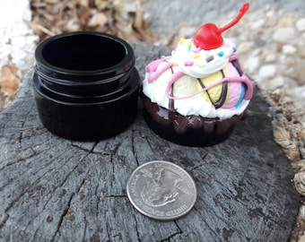 Ice Cream Sundae Mini Ultraviolet Glass Screwtop Jar Cherry Rainbow Sprinkles Chocolate Frosting Strawberry Decoden Style Small Kawaii