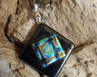 Square Dichroic Glass on Black Glass Pendant, One of a Kind Handmade Jewelry