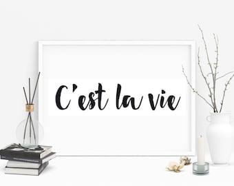 C'est la Vie Print, French Quote, French Decor, Typography Print, Cest la vie, French, Paris Decor, French Print, French Quote Poster