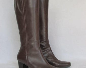 Naturalizer Brown Leather Boots Size 10 High Heel Winter Boots, Tall Fashion Boots, Snow Boots, Insolated Zipper Boots, Made in BRAZIL