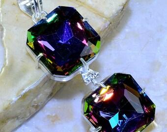 Rainbow TOPAZ / Double Stack/ Gemstone Faceted  Rainbow Topaz Pendant