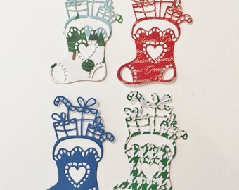 Christmas, 4 Stockings, Handmade, Sizzix, Blue, Red, White, Green Checked, Cards, Scrapbooking, Toys, Candy Cane, Heart