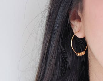 Gold plated hoop earrings with gold balls~hoops earrings with tiny gold circles~circle earrings~90s hoops~gift for her~hoops with beads