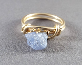Raw Tanzanite Wire Wrapped Gold Ring