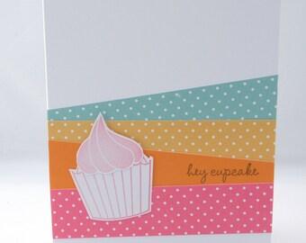 Bright Pastel Cupcake Birthday Card Hey Cupcake