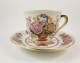 Vintage Masons Ironstone Brocade Tea Cup and Saucer Made in England