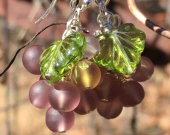 Dangling Grape Cluster Earrings