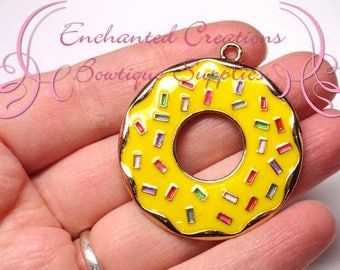 "2"" Yellow with Multicolor Sprinkles Sweet Treat Donut, Chunky Pendant, Bookmark, KeyChain, Bookmark, Zipper Pull, Planner Charm, Purse Charm"