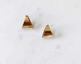 1980's Dead Stock Vintage Gold Curved Triangle Stud Earrings