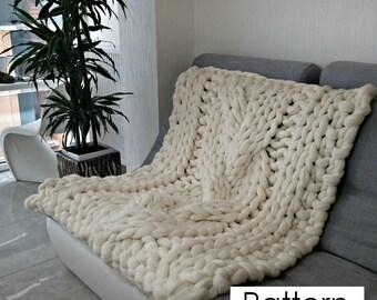 "Chunky knit blanket pattern 51x51"" (130x130 cm), Knitting Pattern Blanket, Cable Knit blanket Pattern, Instant download, PDF pattern blanket"