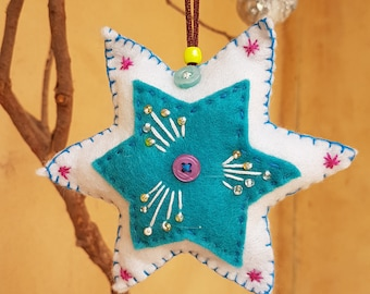 Handmade felt star ornament
