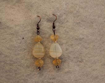 Yellow Streaked Cream Earrings