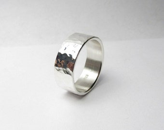 Silver Ring 9mm Wide Hammered Silver Ring Made to Order Engraving Option