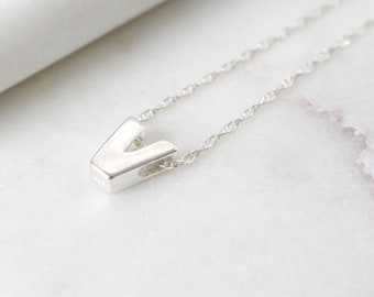 Sterling Silver Initial V Pendant Necklace • Letter Necklace • Initial Pendant • Initial Jewellery • Personalised Initial Necklace