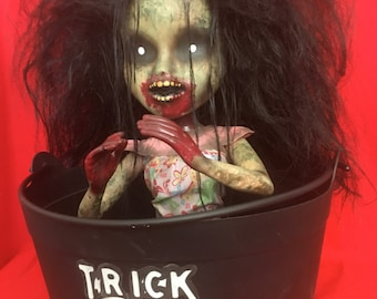 Elle Virus is a OOAK zombie baby art doll