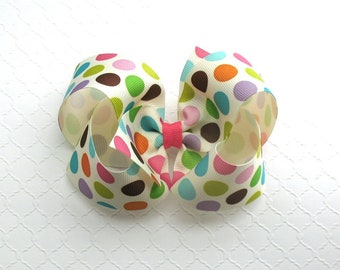"5"" Polka Dot Hair Bow ~ Girls Hair Bow ~ Toddler Hair Bow ~ Xtra Large Hair Bow ~ Boutique Hair Bow ~ Bow for Girls"