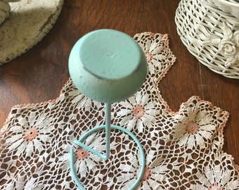 Hat stand ~ vintage , Metal & Wood-Aqua