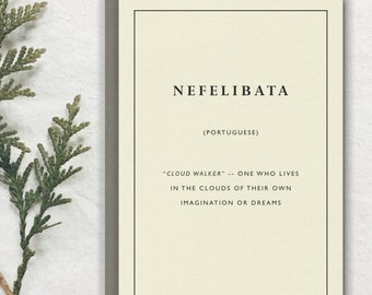 NEFELIBATA -- Portuguese Untranslatable Foreign Word Card // Premium 100% Recycled Paper // Vintage Stationery, Literary Greeting, Postcard