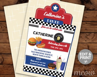 American Diner Invitations Burger Birthday Invites INSTANT DOWNLOAD Hotdog Dinner 1950's Fifties Personalize Editable Printable Template