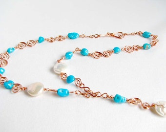 Turquoise Pearl Copper Y Necklace Wire Wrapped Handcrafted Links