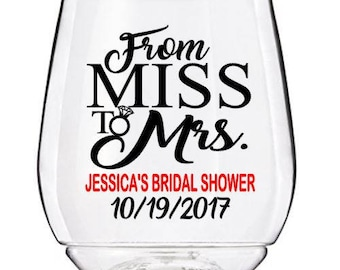 Bridal Shower Wine Glass Decals, From Miss to Mrs Wedding Wine Glass Decals, Personalized Bridal Shower Decals, GLASSES NOT INCLUDED
