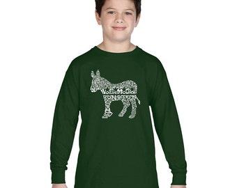Boy's Long Sleeve T-shirt - I Vote Democrat